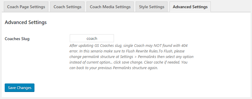 GS Coaches Advanced Settings