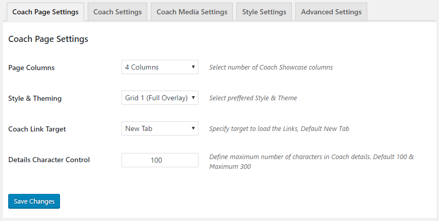 GS Coaches Page Settings